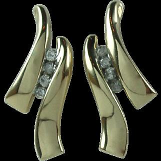 Vintage 10K Gold Diamond Earrings