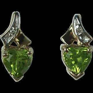 Vintage 10k Gold Peridot and Diamond Earrings