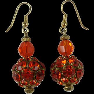 Vintage Orange Rhinestone Earrings