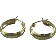 Vintage 10k Yellow Textured Gold Hoop Earrings
