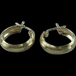 Vintage 10k Yellow Textured Gold Hoop Earrings