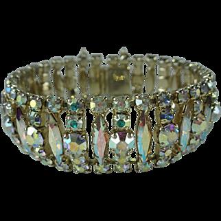 Vintage Sherman Aurora Borealis Swarovski Crystal Bracelet