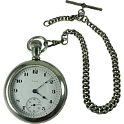 Elgin 1919 Pocket Watch and Chain-Working Condition