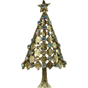 Vintage Aurora Borealis Rhinestone Christmas Tree Brooch