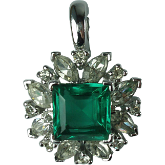 Vintage Panetta Emerald Rhinestone Pendant