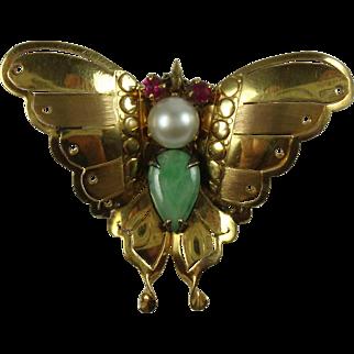 Vintage 14k Gold Gemstone Butterfly Brooch