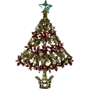 Vintage Tancer Poinsettia Christmas Tree Brooch