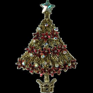 Vintage Tancer Poinsettia Christmas Tree Brooch