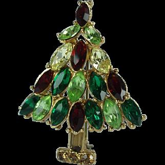 Vintage Rhinestone Christmas Tree Brooch