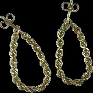 Vintage 14K Gold Rope Earrings - 2.52 grams