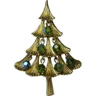 Vintage MYLU Christmas Tree Brooch