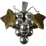 Vintage Sterling Silver Mexico Grapes Pendant/Brooch