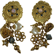 Vintage Angel Theme Charms Statement Earrings