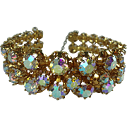 Vintage Triad Aurora Borealis Rhinestone Cuff Bracelet