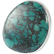 Vintage Sterling Silver Large Turquoise Statement Ring