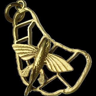 Vintage 9 Karat Gold Barbados Flying Fish Pendant