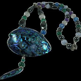 Vintage Abalone Paua Shell Semiprecious Stones Beaded Necklace