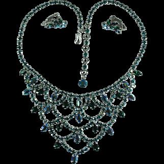 Vintage Green Tones Aurora Borealis Rhinestone Bib Necklace and Matching Earrings
