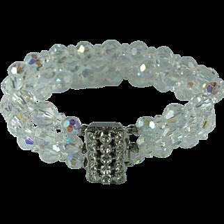 Vintage Laguna Aurora Borealis Crystal Bead Three Strand Bracelet