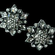 Vintage St John Designer Crystal Rhinestone Snowflake Earrings