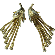 Vintage 1950s Rhinestone Braided Rope Dangly Clip On Earrings