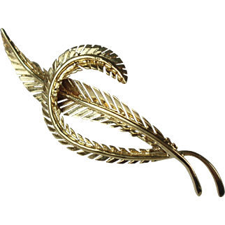 14 Karat Yellow Gold Feather Design Brooch