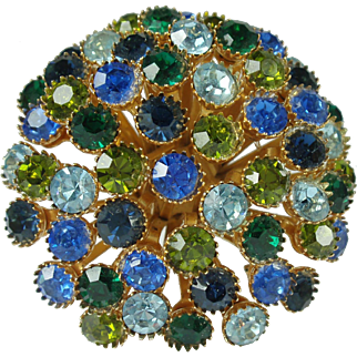 Vintage Green Blue Rhinestone Domed Brooch