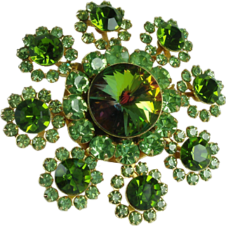 Vintage Green Rhinestone Flower Statement Brooch