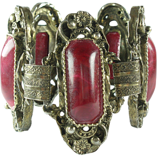 Vintage Raspberry Red Lucite Wide Bracelet