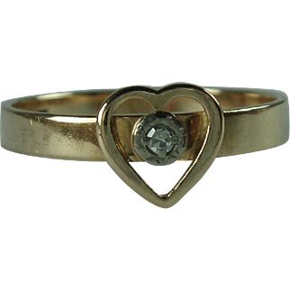 Vintage Modernist 14 Karat Gold Diamond Ring Elis Kauppi FInland