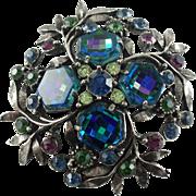 Florenza 1960's Silver-tone Sapphire-Colour Checkerboard Rhinestone Brooch