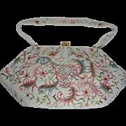 French Josef Hand Beaded Tambour Vintage Handbag