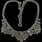 1950's Jay Flex Sterling Clear Rhinestone Vintage Necklace