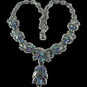 Coro Aurora Borealis Blue Rhinestone Silver-tone Vintage Necklace