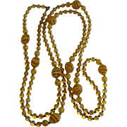 Flapper Glass Bead Vintage Necklace 56 Inches