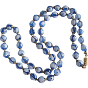 Millefiori Blue and White Glass Bead Vintage Necklace