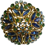 Florenza 1960's Domed Blue & Green Rhinestone Brooch