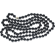 Flapper Length Black Glass Bead Vintage Necklace 50 Inches