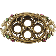 Florenza Gold-tone Lipstick Holder Rhinestones & Faux Pearls