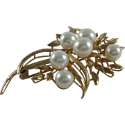14K Yellow Gold Six Cultured Pearls Vintage Brooch