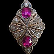 Antique Unheated Intense Fuchsia Pink Sapphire Ruby 900 Platinum 18k Ring Certified No Heat