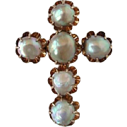 Antique Victorian Natural Pearl Brooch Christian Cross 14K Yellow Gold