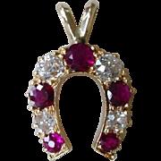 Antique Natural Ruby & Mine Cut Diamonds 18k Gold Horseshoe Pendant