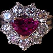 Romantic Heart Cut Ruby & Diamond 18k Gold Vintage Engagement Ring