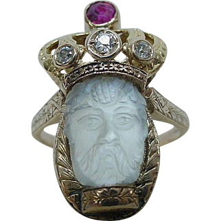 Rare Victorian Hand Carved Moonstone Emperor Ring with Diamonds and Ruby