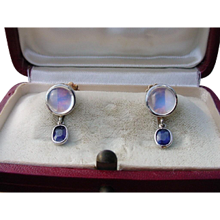 Vintage Moonstone & Blue Sapphire Earrings 14k Gold & 900 Platinum Screwbacks