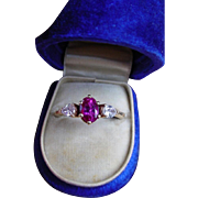 Vintage AGL No Heat Reddish Pink Sapphire Diamond Ring Unheated