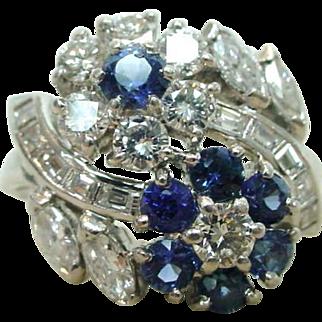 J. E. Caldwell Platinum Diamond Sapphire Ring Mid Century Exquisite!