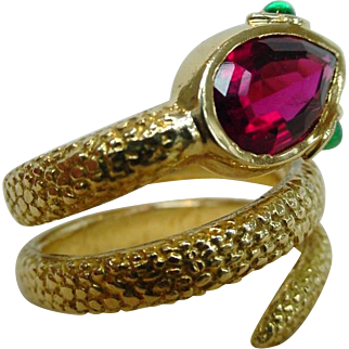 Authentic Cartier 18K Gold Snake Serpent Ring Red Rubellite With Fitted Box Old Vintage