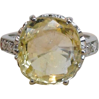 On Hold:  Six Carat Yellow Sapphire 900 Platinum Ring Natural No Heat Art Deco Ring